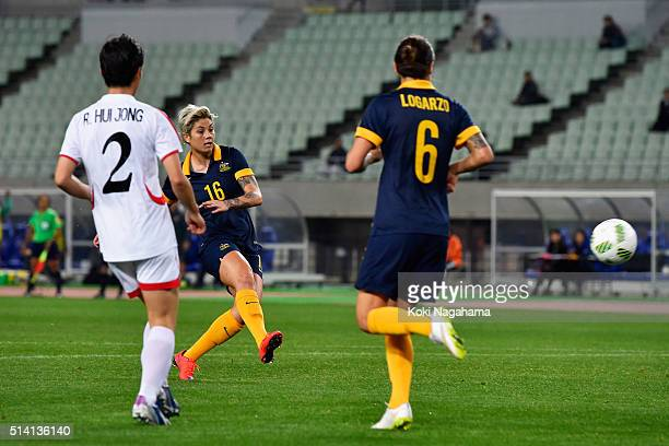 Michelle Heyman of Australia scores her team's first goal during the AFC Women's Olympic Final Qualification Round match between North Korea and...