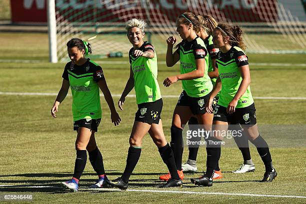 Michelle Heyman of Canberra celebrates with team mates after scoring a goal during the round four WLeague match between Canberra United and the...