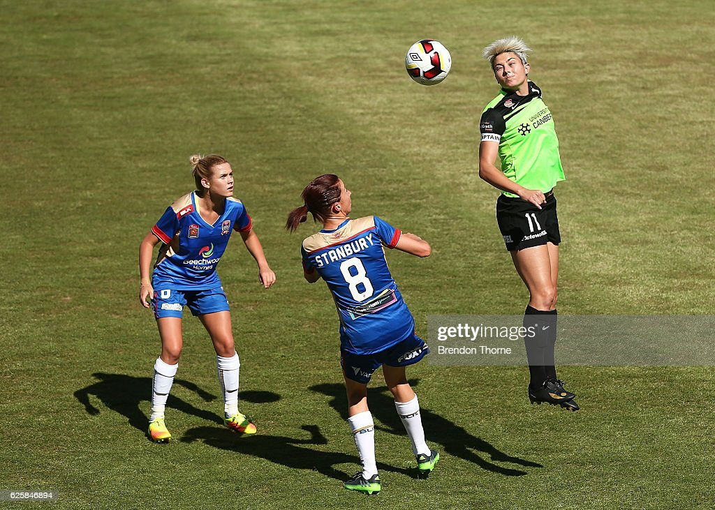 Michelle Heyman of Canberra heads the ball during the round four W-League match between Canberra United and the Newcastle Jets at McKellar Park on November 26, 2016 in Canberra, Australia.