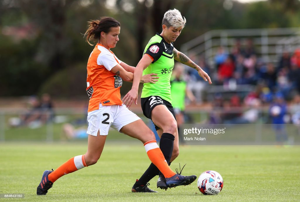 Michelle Heyman of Canberra in action during the round six W-League match between Canberra United and the Brisbane Roar at McKellar Park on December 3, 2017 in Canberra, Australia.
