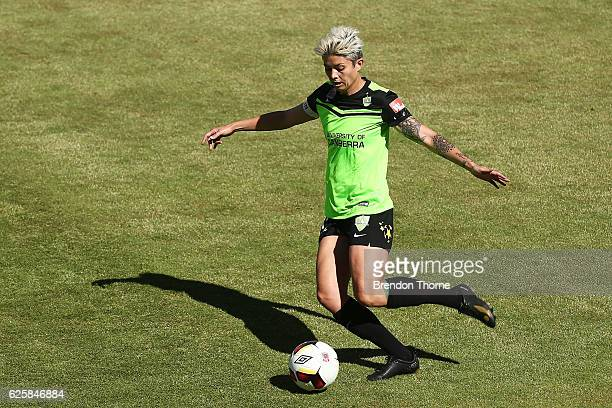 Michelle Heyman of Canberra passes the ball to a team mate during the round four WLeague match between Canberra United and the Newcastle Jets at...