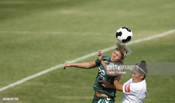 Michelle Heyman of Canberra United and Daila-Tais Borg of Adelaide United contest possession during the round nine W-League match between Canberra...