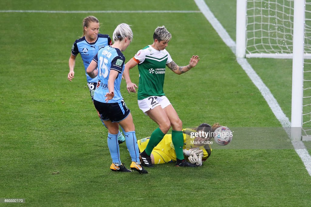 Michelle Heyman of Canberra United and Sham Khamis of Sydney FC compete for the ball in front of goal during the round eight W-League match between Sydney FC and Canberra United at Allianz Stadium on December 15, 2017 in Sydney, Australia.