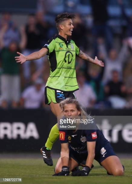 Michelle Heyman of Canberra United celebrates after scoring a goal during the round one W-League match between Canberra United and Adelaide United at...