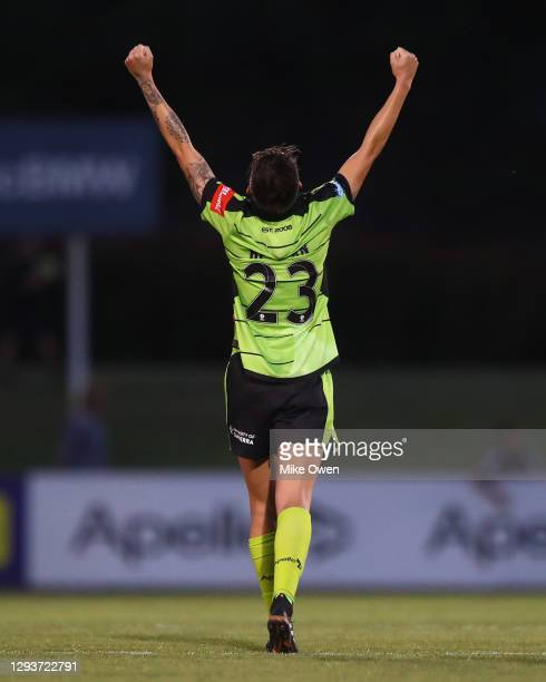 Michelle Heyman of Canberra United celebrates after winning the round one W-League match between Canberra United and Adelaide United at Viking Park,...