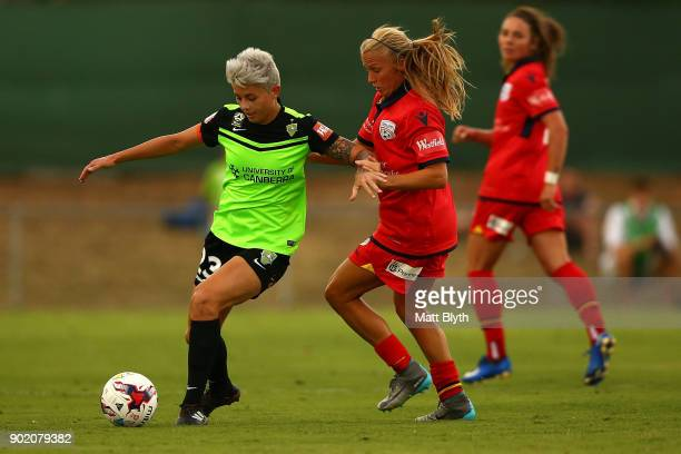Michelle Heyman of Canberra United FC kicks the ball during the round 10 WLeague match between Canberra United and Adelaide United at McKellar Park...