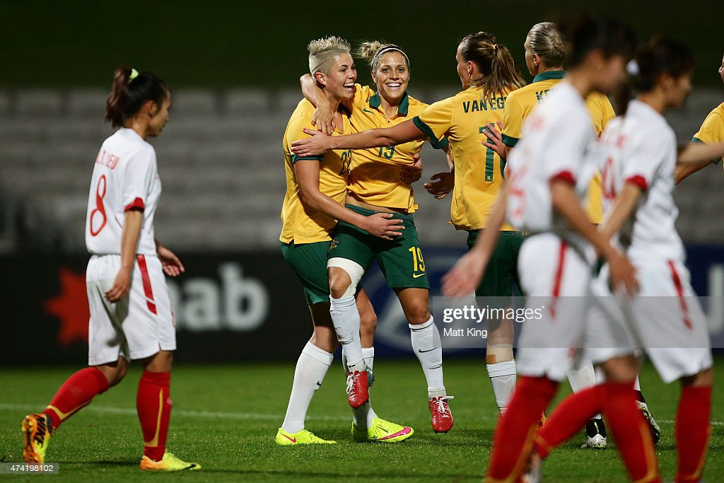 Michelle Heyman (L) of the Matildas celebrates with team mates after scoring a goal during the international women's friendly match between the Australian Matildas and Vietnam at WIN Jubilee Stadium on May 21, 2015 in Sydney, Australia.