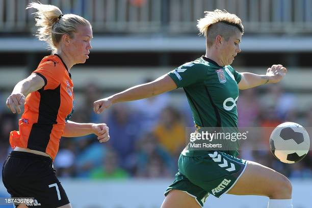 Michelle Heyman of United receives a pass during the round one W-League match between the Brisbane Roar and Canberra United at AJ Kelly Fields, Kippa...