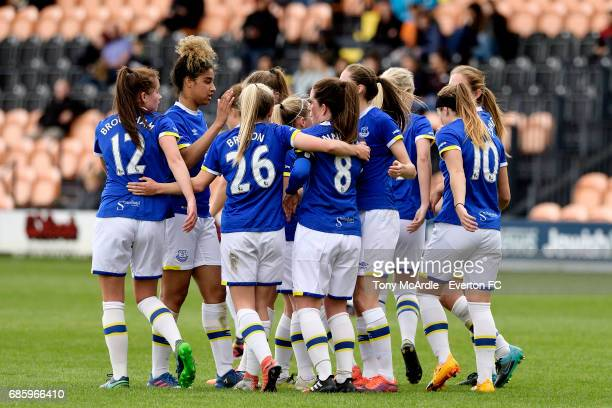 Michelle Hinnigan of Everton celebrates her goal with team mates during the WSL 2 match between London Bees and Everton Ladies at The Hive on May 20...