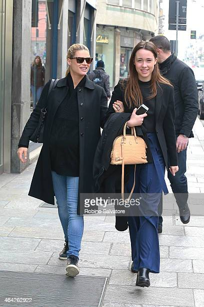 Michelle Hunziker and Aurora Ramazzotti are pictured out shopping on February 23 2015 in Milan
