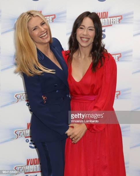 Michelle Hunziker and Aurora Ramazzotti attend 'Vuoi Scommettere' photocall on May 3 2018 in Milan Italy