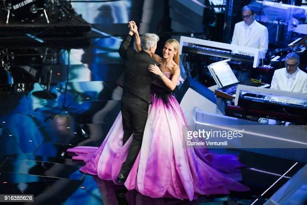 Michelle Hunziker and Claudio Baglioni attend the fourth night of the 68 Sanremo Music Festival on February 9 2018 in Sanremo Italy