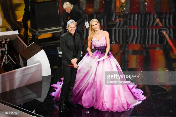 Michelle Hunziker and Claudio Baglioni attend the fourth night of the 68 Sanremo Music Festival on February 9 2018 in Sanremo Italy