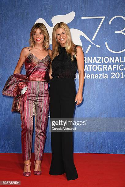 Michelle Hunziker and Gaia Trussardi attend the premiere of 'Franca: Chaos And Creation' during the 73rd Venice Film Festival at Sala Giardino on...