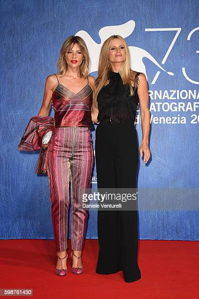 Michelle Hunziker and Gaia Trussardi attend the premiere of 'Franca Chaos And Creation' during the 73rd Venice Film Festival at Sala Giardino on...