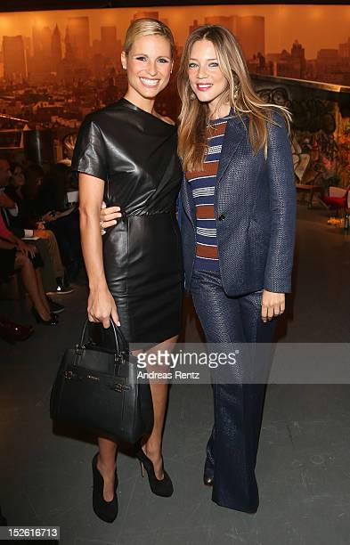 Michelle Hunziker and Gaia Trussardi attend the Trussardi Spring/Summer 2013 fashion show as part of Milan Womenswear Fashion Week on September 23,...