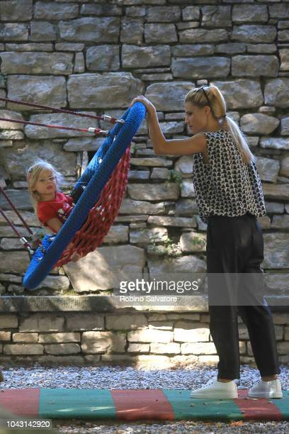 Michelle Hunziker and her daughter Celeste Trussardi are seen on September 29 2018 in Milan Italy