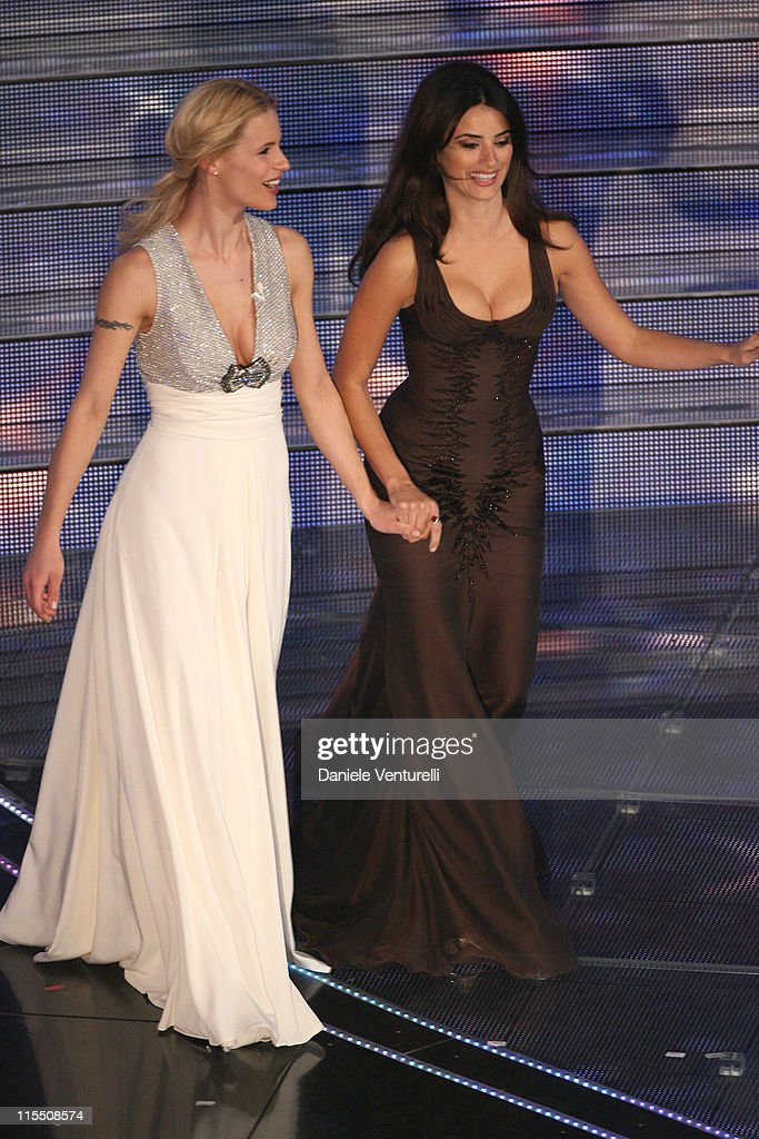 Michelle Hunziker and Penelope Cruz during 57th San Remo Music Festival - Day 4 in Sanremo, Italy.