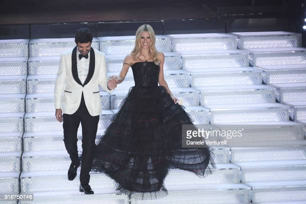 Michelle Hunziker and Pierfrancesco Favino attend the closing night of the 68 Sanremo Music Festival on February 10 2018 in Sanremo Italy