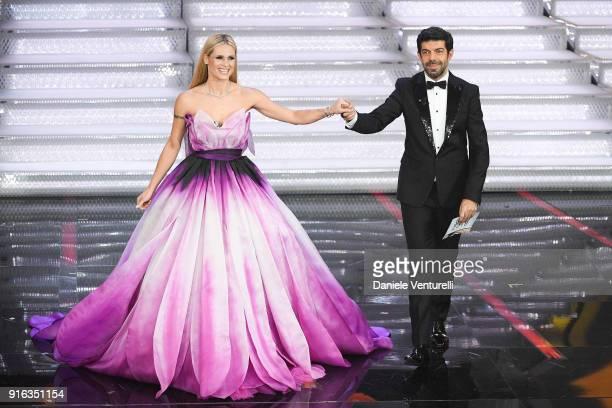 Michelle Hunziker and Pierfrancesco Favino attend the fourth night of the 68 Sanremo Music Festival on February 9 2018 in Sanremo Italy