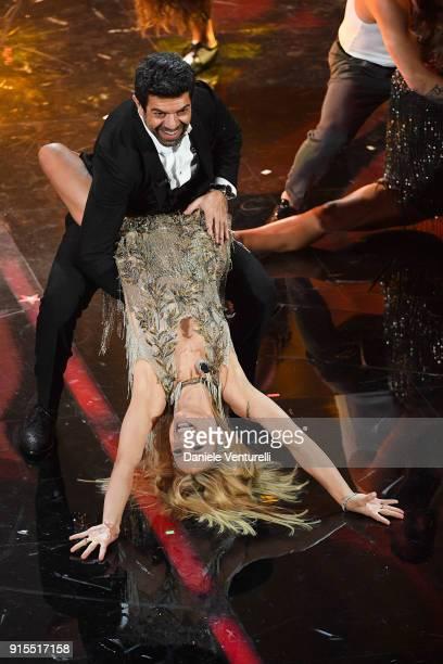 Michelle Hunziker and Pierfrancesco Favino attend the second night of the 68 Sanremo Music Festival on February 7 2018 in Sanremo Italy