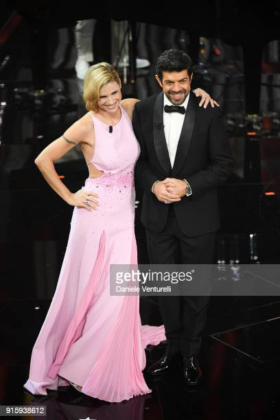 Michelle Hunziker and Pierfrancesco Favino attend the third night of the 68 Sanremo Music Festival on February 8 2018 in Sanremo Italy