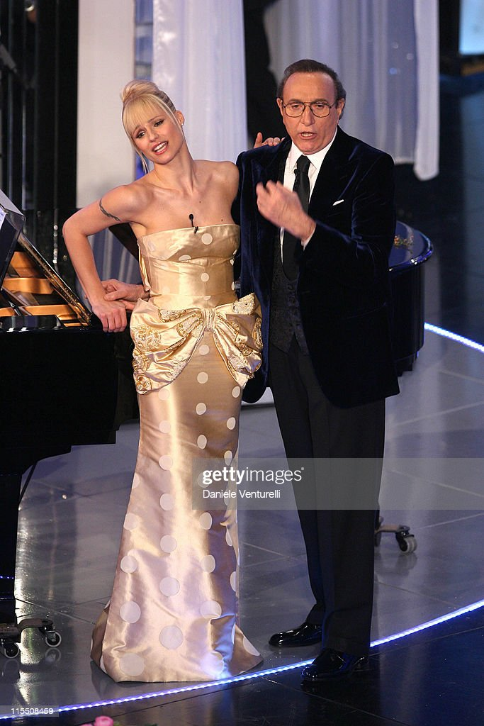 Michelle Hunziker and Pippo Baudo during 57th San Remo Music Festival - Inaugural Evening at Teatro Ariston in Sanremo, Italy.