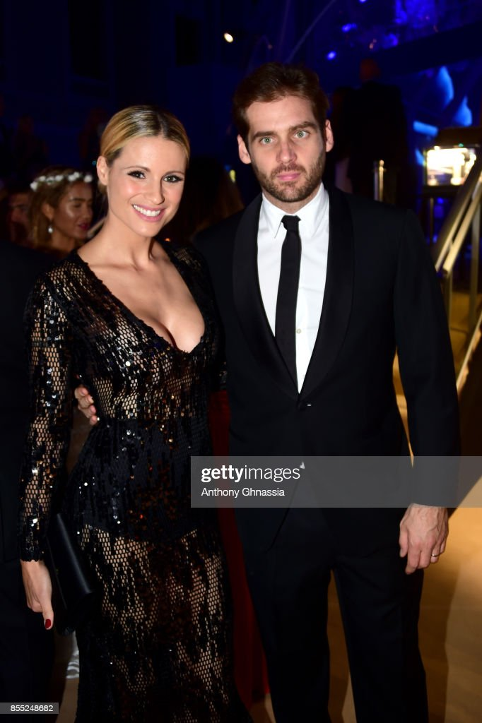 Michelle Hunziker and Tomaso Trussardi attend the cocktail for the inaugural 'Monte-Carlo Gala for the Global Ocean' honoring Leonardo DiCaprio at the Monaco Garnier Opera on September 28, 2017 in Monaco, Monaco.