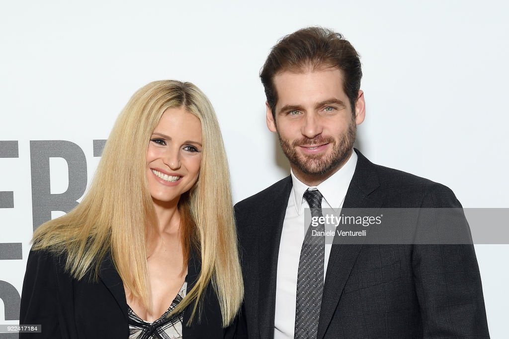 Michelle Hunziker and Tommaso Trussardi attend 'Grazia Scandal' party during Milan Fashion Week Fall/Winter 2018/19 on February 21, 2018 in Milan, Italy.