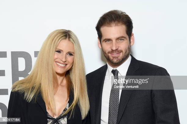 Michelle Hunziker and Tommaso Trussardi attend 'Grazia Scandal' party during Milan Fashion Week Fall/Winter 2018/19 on February 21 2018 in Milan Italy