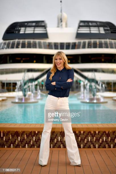 Michelle Hunziker arrives on board MSC Grandiosa ahead of hosting the christening ceremony on November 08 2019 in Hamburg Germany
