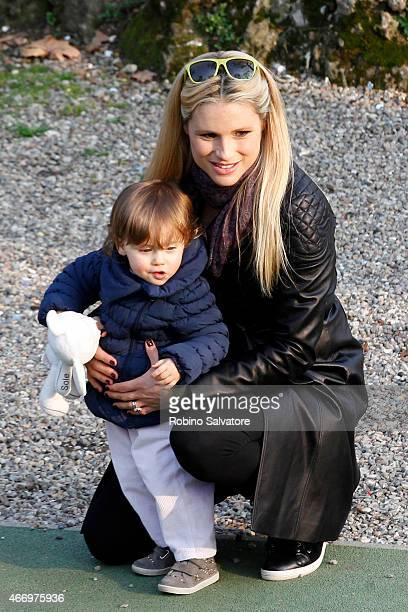 Michelle Hunziker at the park with daughters on March 19 2015 in Milan Italy