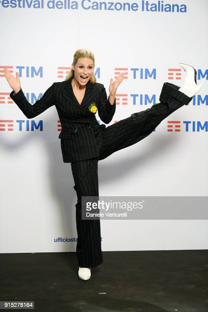 Michelle Hunziker attends a photocall on the second day of the 68 Sanremo Music Festival on February 7 2018 in Sanremo Italy
