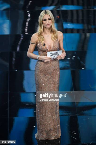Michelle Hunziker attends the closing night of the 68 Sanremo Music Festival on February 10 2018 in Sanremo Italy
