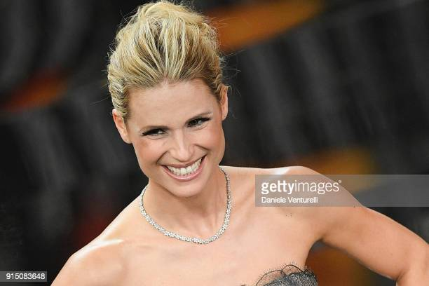 Michelle Hunziker attends the first night of the 68 Sanremo Music Festival on February 6 2018 in Sanremo Italy