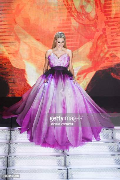 Michelle Hunziker attends the fourth night of the 68 Sanremo Music Festival on February 9 2018 in Sanremo Italy