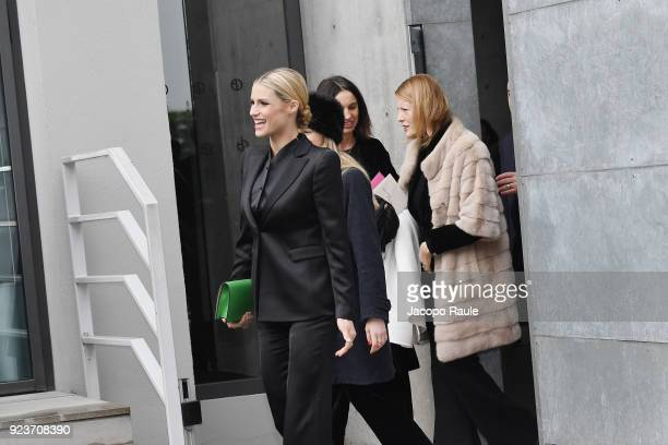 Michelle Hunziker attends the Giorgio Armani show during Milan Fashion Week Fall/Winter 2018/19 on February 24 2018 in Milan Italy