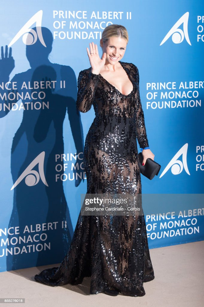Michelle Hunziker attends the Inaugural 'Monte-Carlo Gala For The Global Ocean' Honoring Leonardo DiCaprio at The Monaco Garnier Opera on September 28, 2017 in Monaco, Monaco.