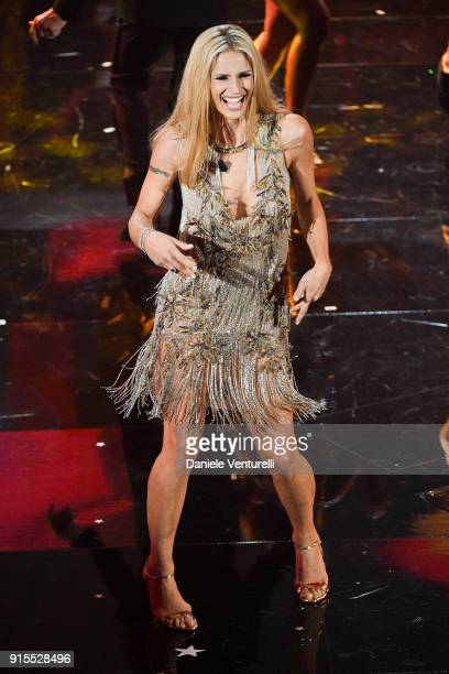 Michelle Hunziker attends the second night of the 68 Sanremo Music Festival on February 7 2018 in Sanremo Italy