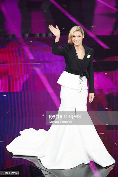 Michelle Hunziker attends the third night of the 68. Sanremo Music Festival on February 8, 2018 in Sanremo, Italy.