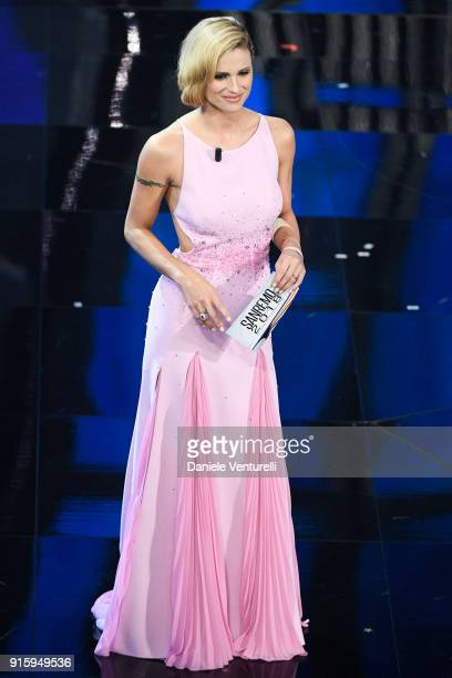 Michelle Hunziker attends the third night of the 68 Sanremo Music Festival on February 8 2018 in Sanremo Italy