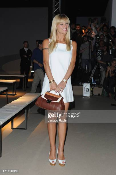 Michelle Hunziker attends the Trussardi show during Milan Menswear Fashion Week Spring Summer 2014 on June 23 2013 in Milan Italy
