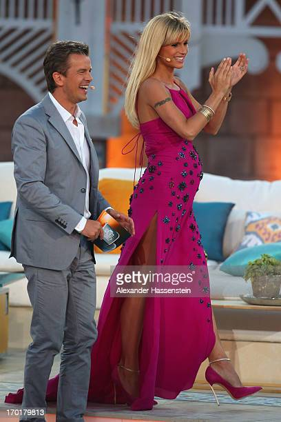Michelle Hunziker attends with Markus Lanz the 'Wetten dass' TV show at Plaza de Toros de Palma Coliseo Balear on June 8 2013 in Palma de Mallorca...