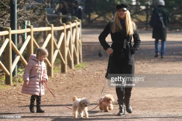 Michelle Hunziker is seen with her daughter Celeste Trussardi in the park on February 15 2019 in Milan Italy