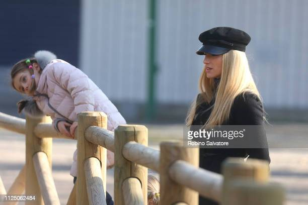 Michelle Hunziker is seen with her daughter Sole Trussardi in the park on February 15 2019 in Milan Italy