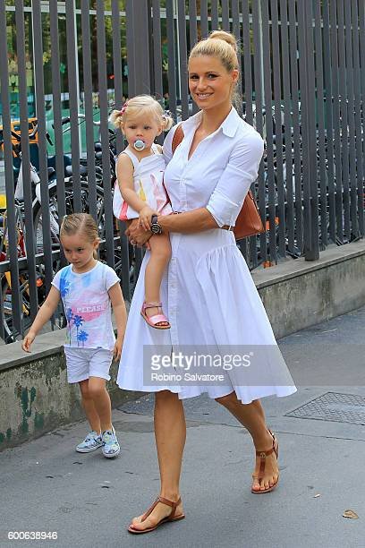Michelle Hunziker is seen with Sole and Celeste Trussardi on the first day of school on September 8 2016 in Milan Italy