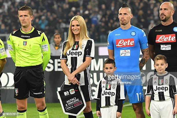 Michelle Hunziker looks on during the Serie A match between Juventus FC and SSC Napoli at Juventus Stadium on October 29 2016 in Turin Italy