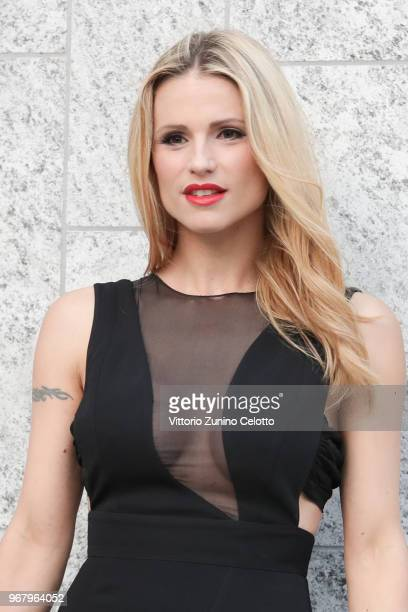 Michelle Hunziker poses on June 5 2018 in Milan Italy