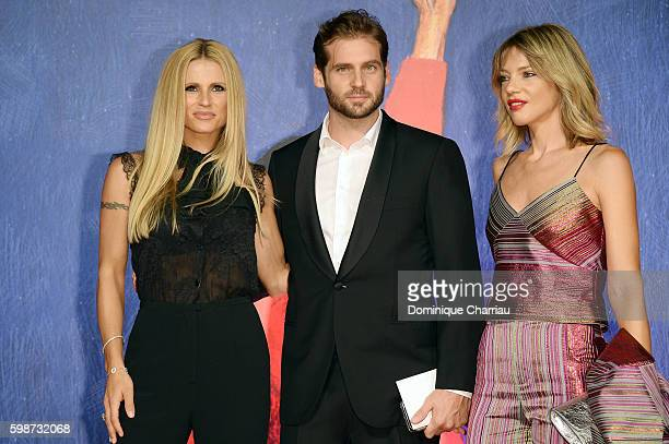 Michelle Hunziker, Tomaso Trussardi and Gaia Trussardi attend the premiere of 'Franca: Chaos And Creation' during the 73rd Venice Film Festival at...