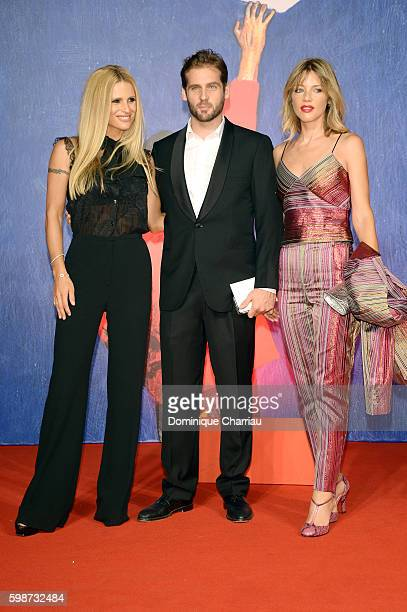 Michelle Hunziker Tomaso Trussardi and Gaia Trussardi attend the premiere of 'Franca Chaos And Creation' during the 73rd Venice Film Festival at Sala...